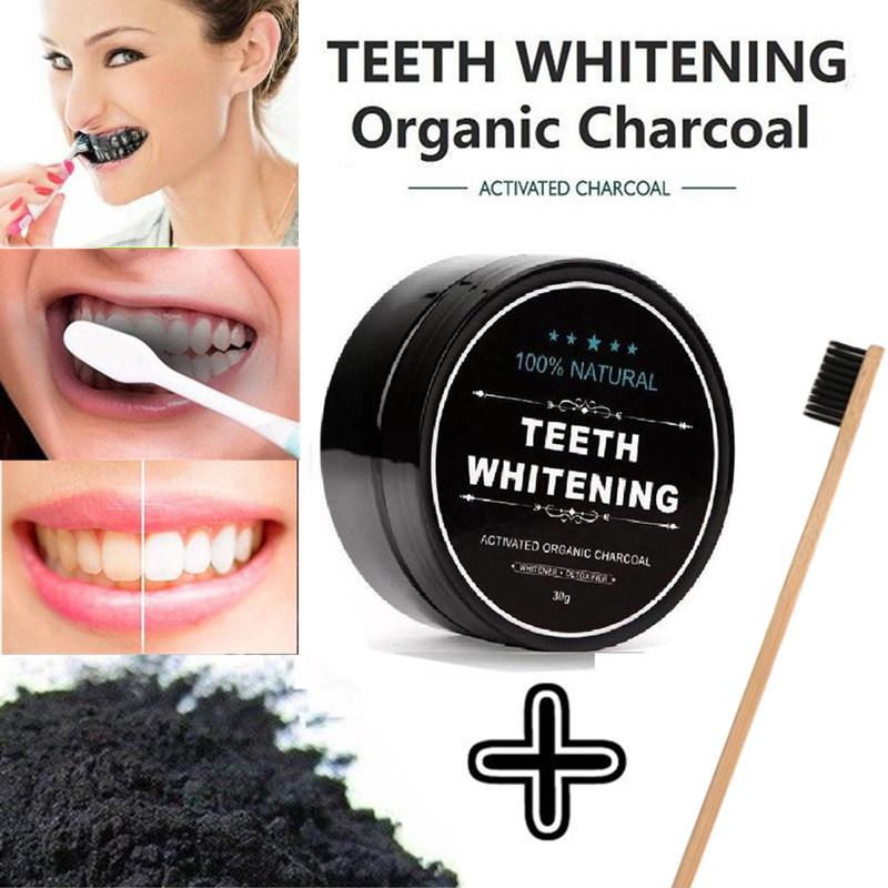 Black Tooth Powder Activated Charcoal Teeth Whitening Stain Remover Toothpaste 30g with Bamboo Tooth Brush
