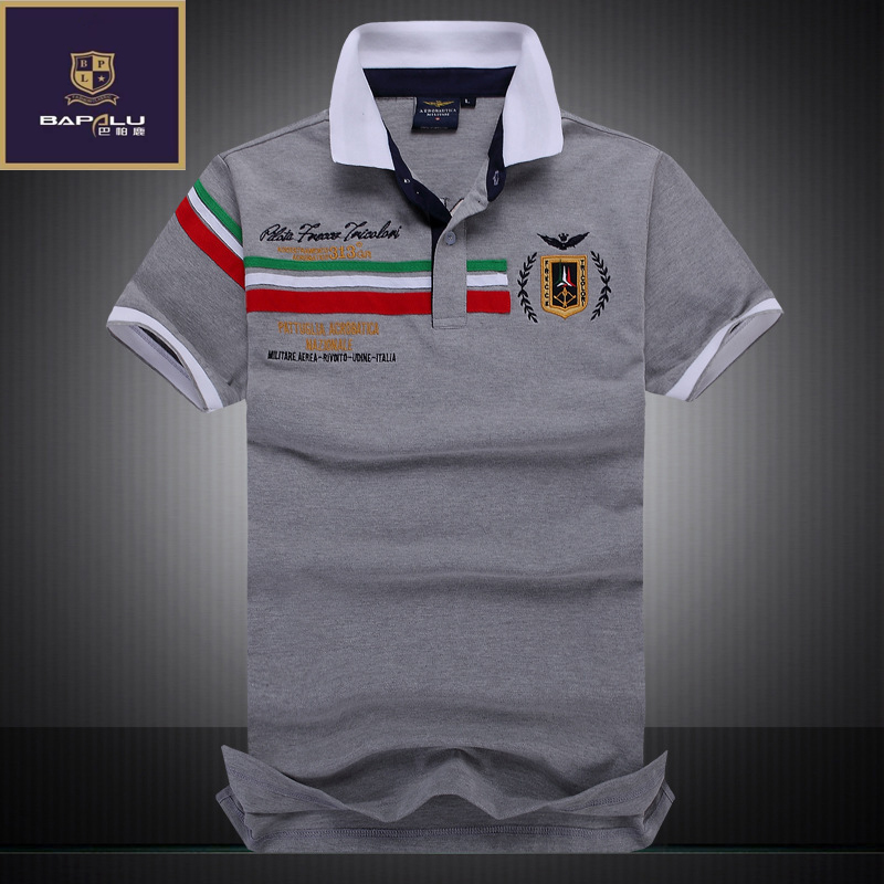summer new men's boutique embroidery breathable 100% cotton polo shirt lapel Men's Air Force One polo shirt