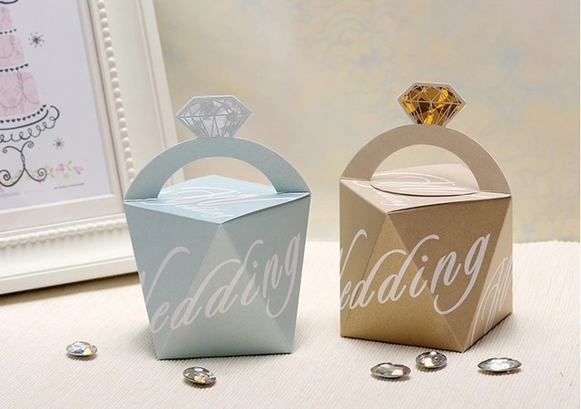 Diamond Wedding Favor Candy Gift Paper Boxes Chocolate Packaging