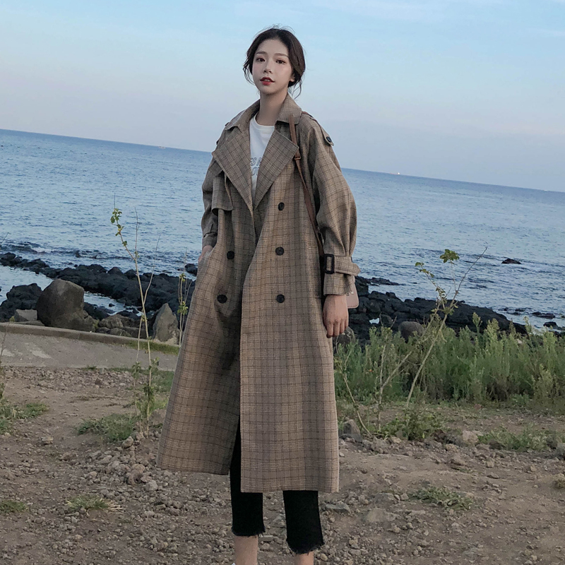 Korean Style Ladies Trench Coat Plaid Long Double Breasted Belted Oversize Loose Women Duster Coat Outerwear With Storm Flaps