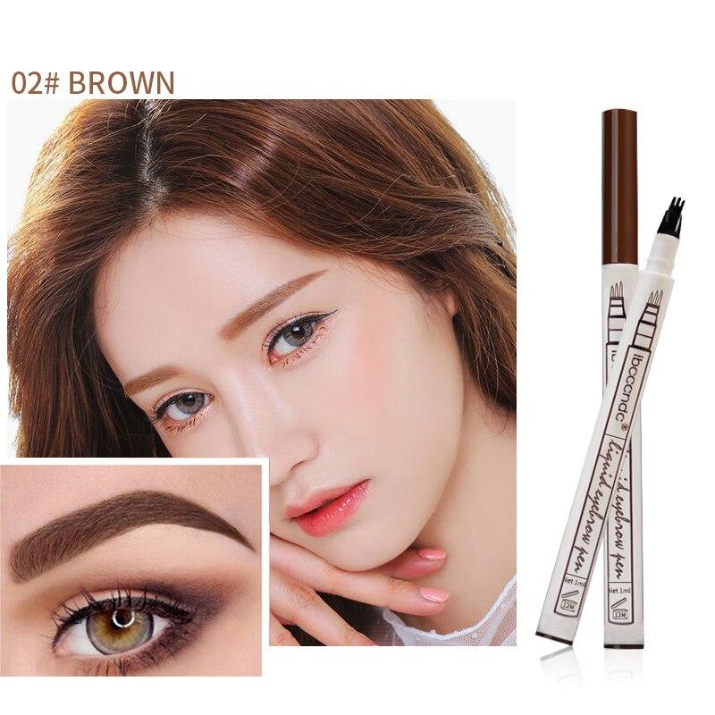 Hot Sale 3 Colors Fine Sketch Liquid Eyebrow Pen Waterproof Tattoo Super Durable Microblading Eye Brow Pencil Smudge-proof 4