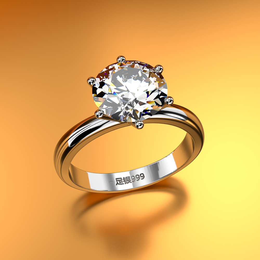 Hot-selling standard 925 sterling silver rings exquisite zircon fashion classic jewelry engagement anniversary gift party