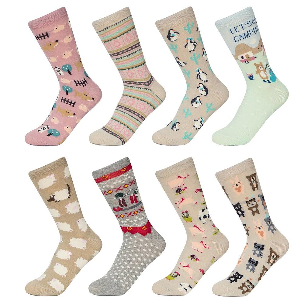2018 New Cotton   Socks   Women Cartoon   Socks   Penguin Rabbit Girls Colorful   Socks   female   socks