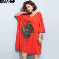 DIMANAF Plus Size Summer Women T Shirt 2018 Large Size Cotton Batwing Sequined Oversize Fashion Casual