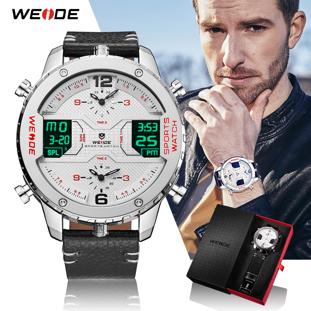 WEIDE Men's Fashion Sports Watches Man Quartz Analog Digital Date Clock Man Leather Military Waterproof Watch Relogio Masculino стоимость