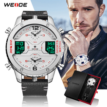 WEIDE Mens Fashion Sports Casual Three Time Zone Quartz Analog Digital Date Clock Leather Strap Military Watch Relogio Masculino все цены