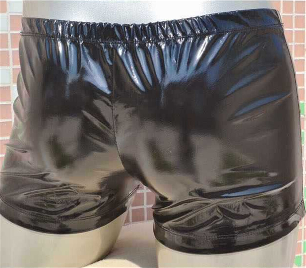 Hot Fashion Men PU Boxer Brand Male Underwear PU Leather Shorts Sexy Elastic Man Exotic Underwear Faux Leather Gay Boxers Shorts