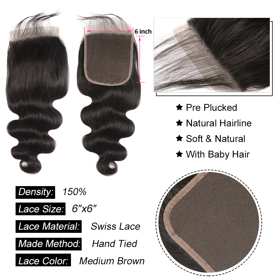 HTB1JervavfsK1RjSszbq6AqBXXao Body Wave Human Hair Bundles With Closure 6x6 Free Part Pre Plucked Brazilian Bundles With Closure Remy Hair Extension AliPearl
