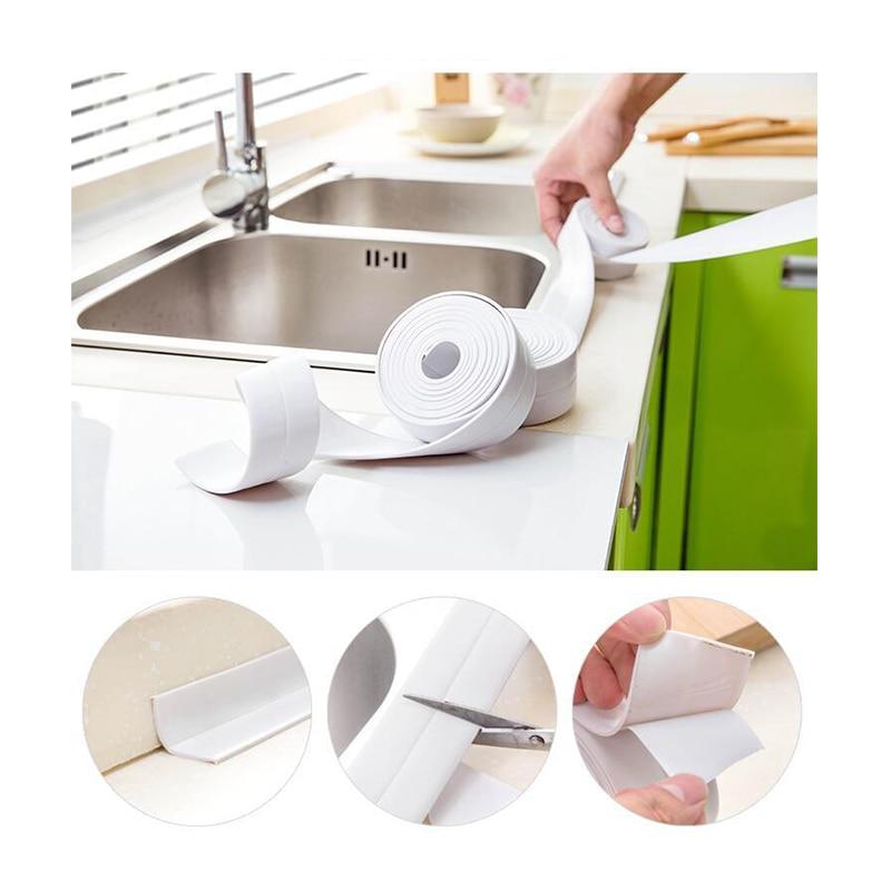 1Roll Self Adhesive Kitchen Waterproof Mildew Proof Adhesive Tape Bathroom Toilet Wall Corner Line Sink Sealing Sticker
