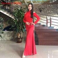 2017 nouveau Sexy D'une Seule Pièce Robe Longue Dame de Pratique De La Danse Du Ventre Modal À Manches Longues Vêtements Rouge Violet Robe De Danse robe
