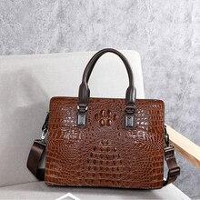 BAQI Men Handbags Men Briefcase Bag Crocodile Pattern Cow Leather Man Shoulder Messenger Bag High Quality Computer Business Bag цены