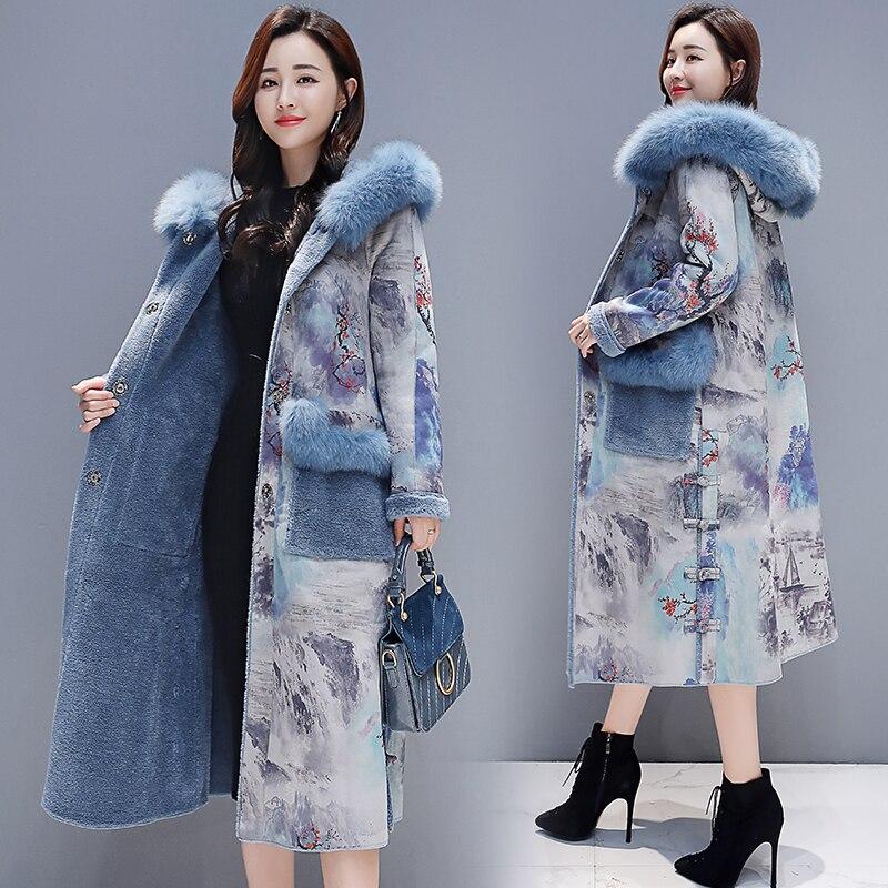 2018 new hiver rétro impression plus le velours épais de fourrure un manteau femelle longue section sur le genou laine manteau