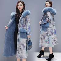 2018 new winter retro print plus velvet thick fur one coat female long section over the knee wool coat