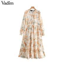 Vadim נשים מתוק פרחוני הדפסת שמלה ארוך שרוול O צוואר נשי מזדמן קיץ חוף סגנון שיק אמצע עגל שמלות QC302