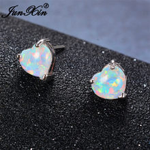 JUNXIN Blue/White Fire Opal Heart Stud Earrings Small Bohemian Double Earrings For Women 925 Silver Filled Jewelry Accessories(China)