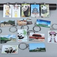 wholesale 10PCS Beijing City Special Souvenir Great Wall Tiananmen Temple of Heaven Temple Panda Emperor Keychain