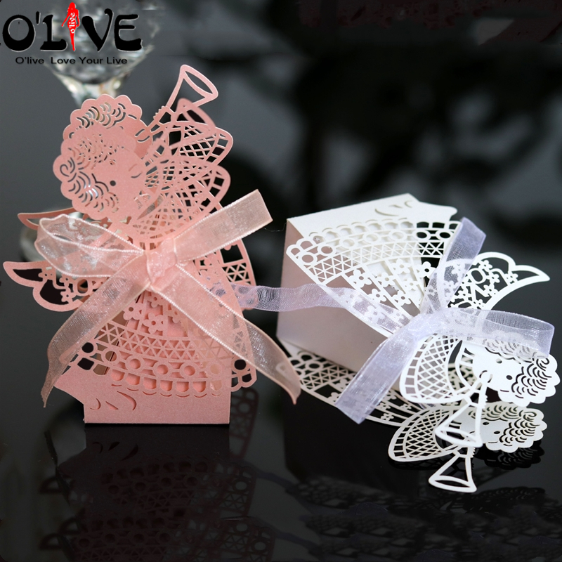 50 Pcs Angel Laser Cut Gift Bag Baby Shower Candy Box Girl Play Trumpet Cardboard Boxes Paper Bonbonniere Wedding Party Favors