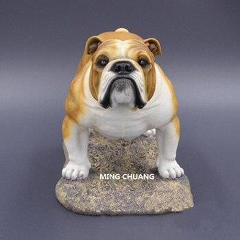 Cute Puppy Statue Simulation Bulldog Medium-sized dogs Pet dog Resin Home Decor Birthday Gift Boxed Creative Art Craft D110