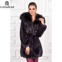 Мех животных Sarcar 2018 для женщин норки пальто пуховая куртка с лисьим меховой воротник 2018 Роскошные зимние натуральный меховая куртк