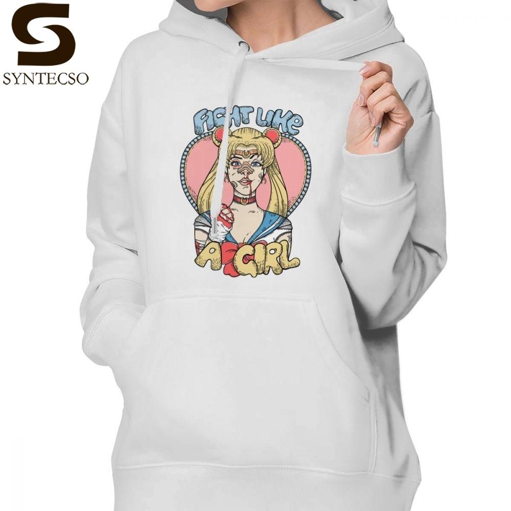 Like Hoodie Sailor Moon Fight Like A Girl Hoodies Oversize Trendy Hoodies Women Streetwear Long sleeve Pullover Hoodie in Hoodies amp Sweatshirts from Women 39 s Clothing