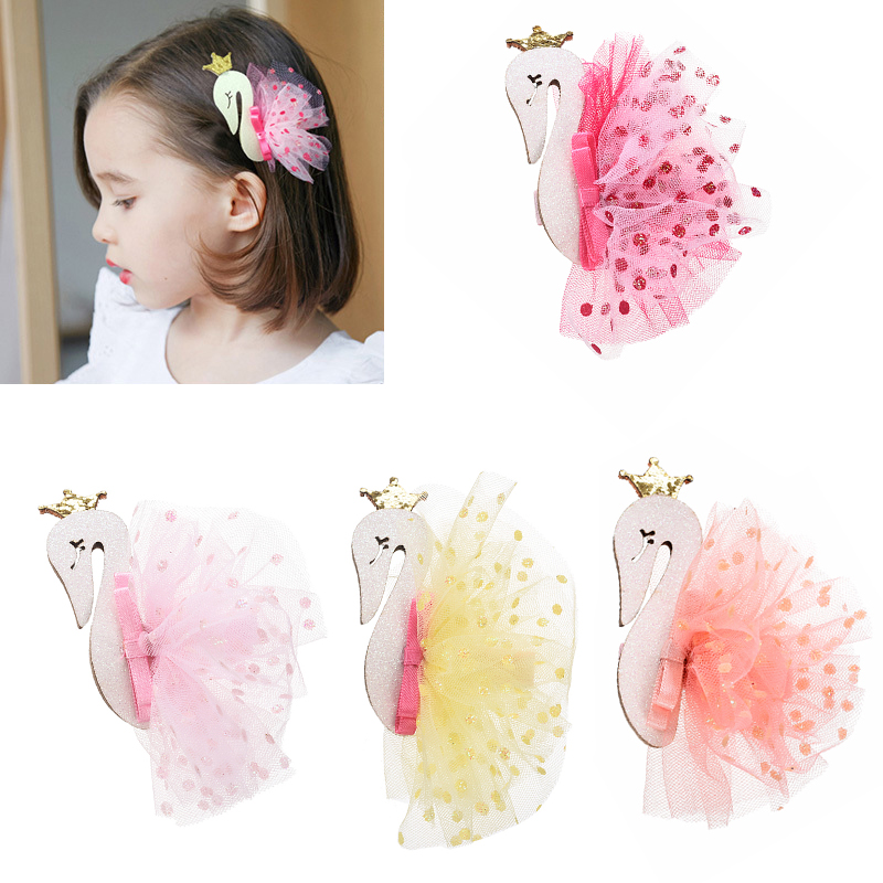 M MISM Sweet Lace Swan Crown Ballet Hair Clip Hairgrip For Children Girls Lovely Cute Hairpin Hair Accessories Ornament Gift