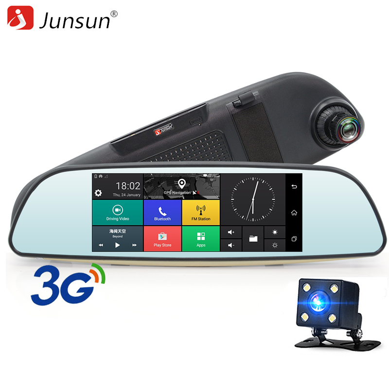 Junsun Android 5.0 Car DVR 3G Rearview Mirror Dual Lens Recorder Camera Full HD 1080P Dash Cam 6.5 GPS Registrar Navigation junsun ambarella a7 car dvr camera video recorder full hd 1080p 60fps speedcam with gps logger night vision dash cam registrar