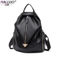 MALLUO Women Backpacks Genuine School Bag Student Backpack Ladies Women Bags Leather Package Female New Arrive