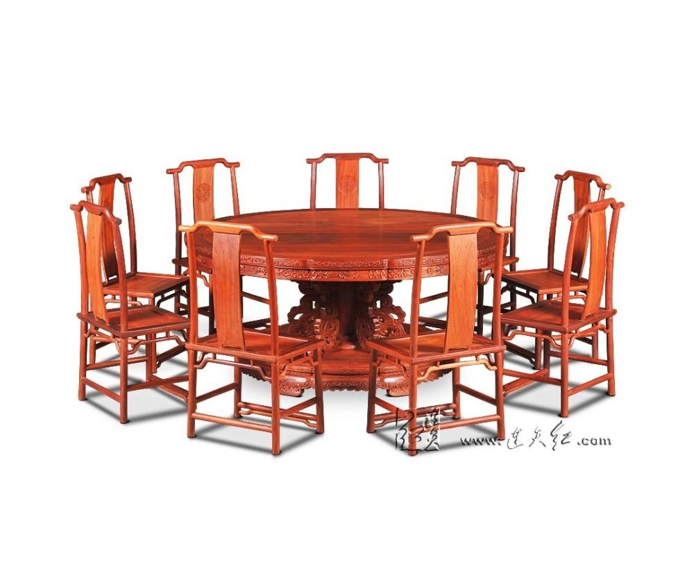 Superbe 1.8 M Ensemble De Table Ronde En Bois De Rose Comprend 9 Chaise En Bois  Massif Fauteuil Bureau Classique Café Rouge En Bois Annatto Ensemble De  Meubles De ...
