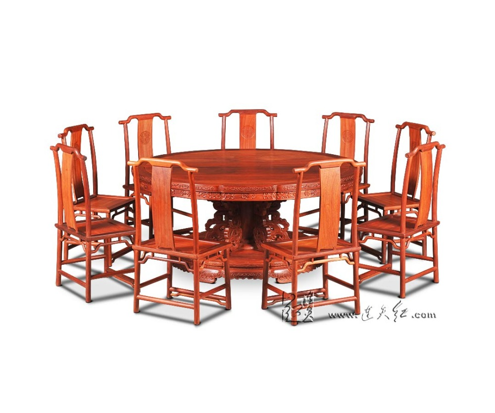 1.8M Rosewood Round Table Set include 9 Chair Solid Wood Armchair Desk Classic Cafe Red wooden Annatto Dining Room Furniture set classical rosewood armchair backed china retro antique chair with handrails solid wood living dining room furniture factory set