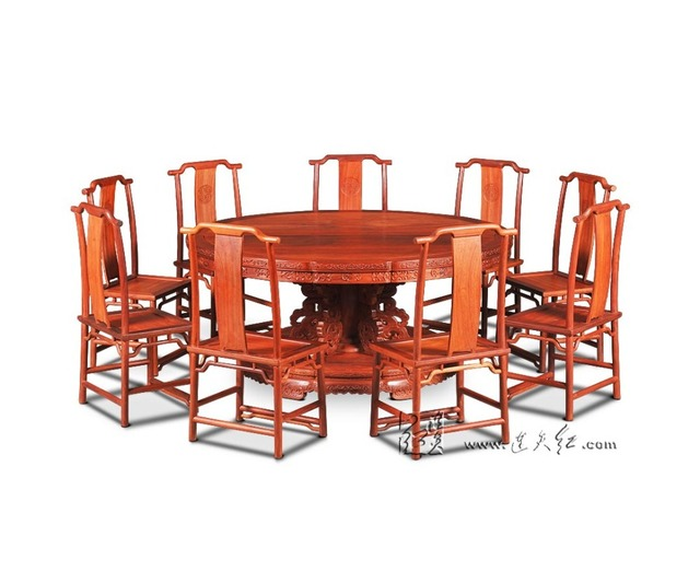1.8M Rosewood Round Table Set include 9 Chair Solid Wood Armchair ...