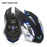Rechargeable Wireless Mouse 2 4G Optical Mouse 6 Buttons 2400DPI Computer Mouse 7 Colors Backlight LED