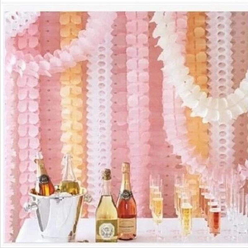 Decoratiuni de nunta Pink Princess Theme Paper Garland Puff Tissue Garden Furnizori de Zi de Aniversare Backdrop Hanging Decor