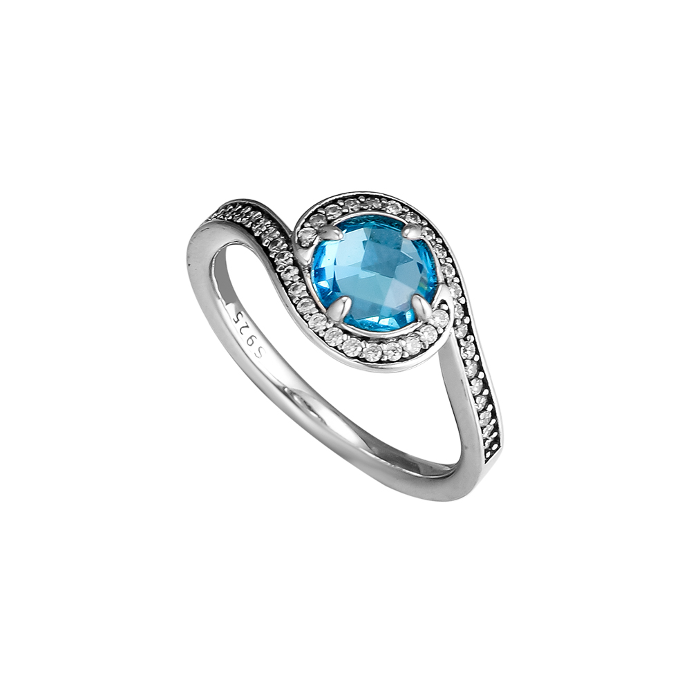 CKK Ring Blue Radiant Embellishment Silver Rings For Women Men Anel Feminino 100% 925 Jewelry Sterling Silver Anillos Wedding Кольцо