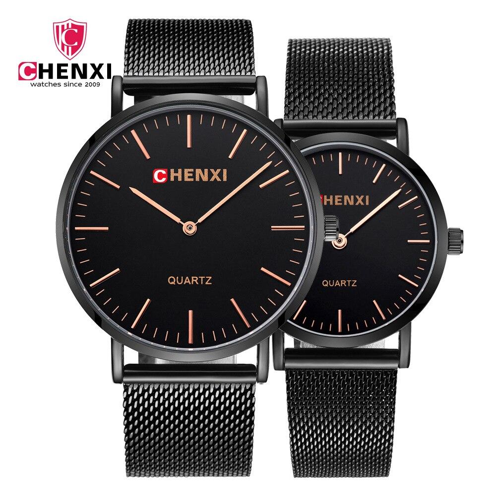 CHENXI Mens Women Watches Top Brand Luxury Black Gold Quartz Watch Mesh Strap Casual Lover Sport Relogio Masculino Drop Shipping