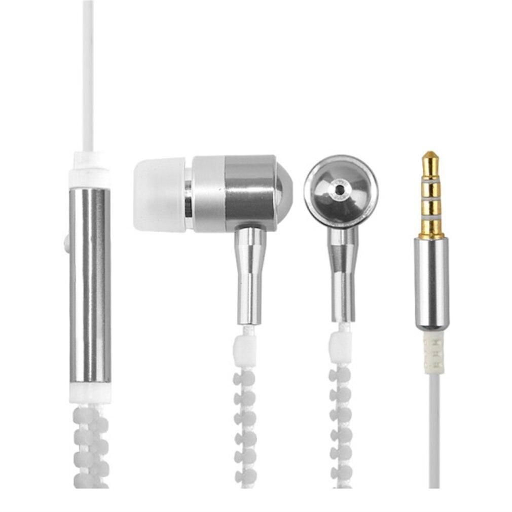 Wired Earphone Luminous Light Zipper earphone 3.5mm Audio Jack Earbuds Glow In The Dark In-ear Headset with Mic