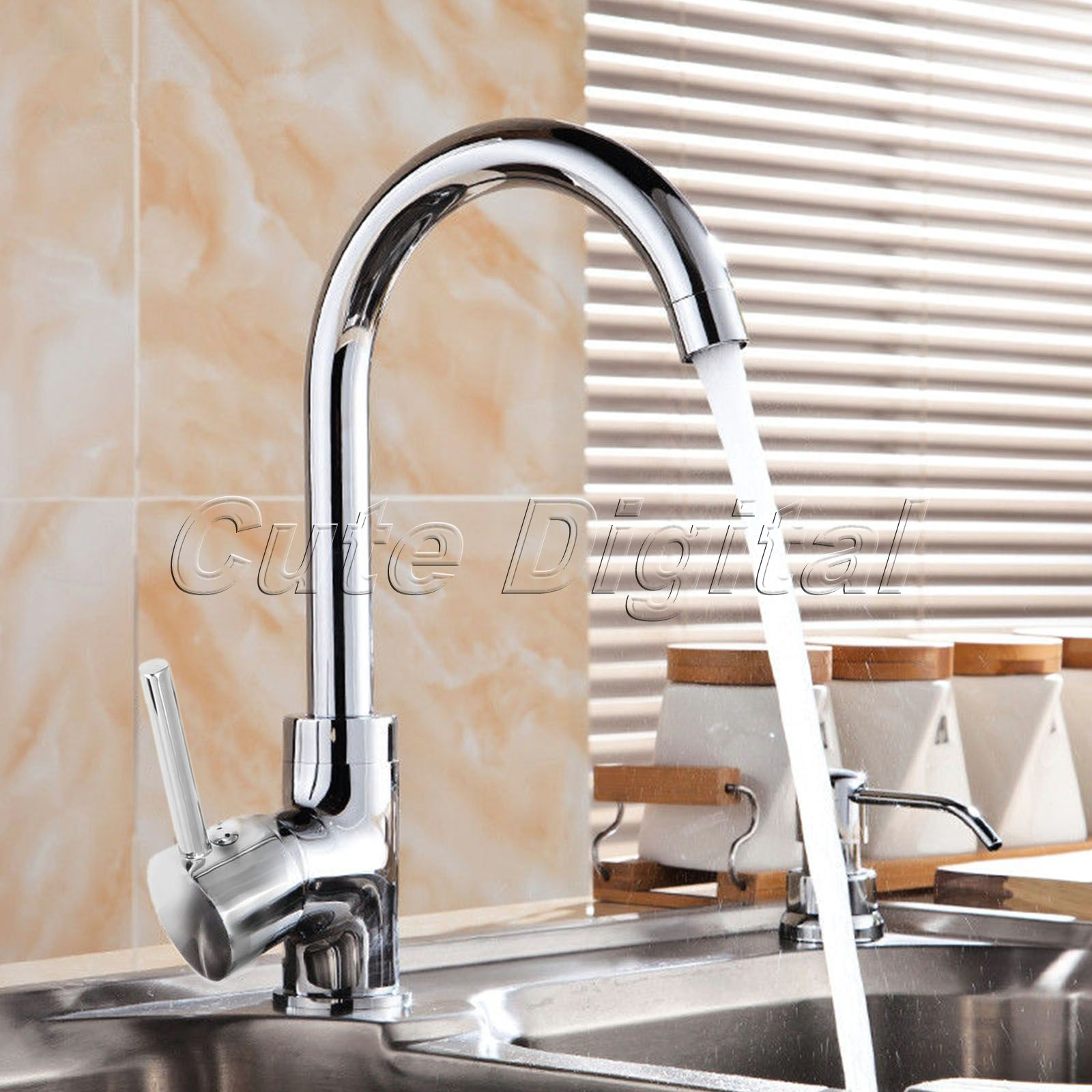 ФОТО Chrome Finish Bath Bathroom Faucet Single Handle Swivel Spout Cold and Hot Water Mixer Taps Rotatable Brass Kitchen Sink Faucet