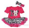 Розовый минни маус первый день рождения ярко розовый боди зебра юбка детское платье NB-12M MAJSA0361