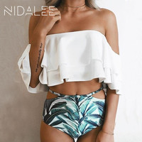 NIDALEE High Waist Swimsuit Sexy Women Solid White Ruffle Bikini Off Shoulder Women S Swimwear Swimsuits