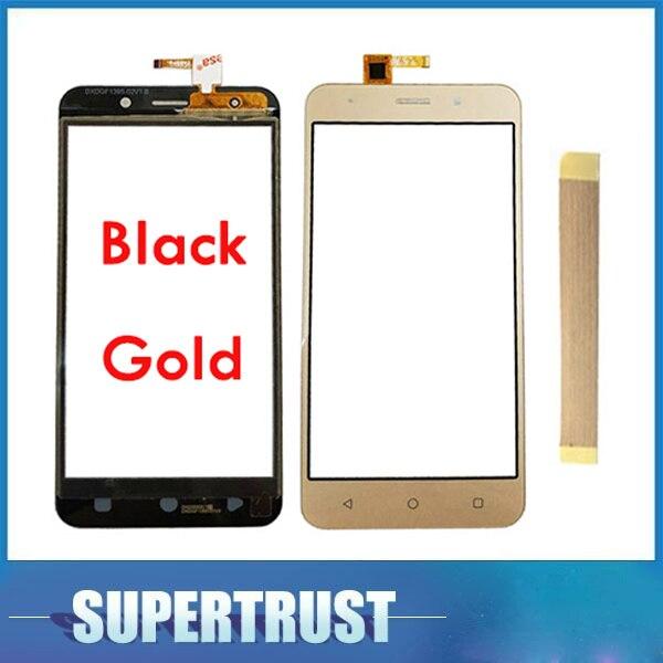 5,0 pulgadas para Vertex impress Luck pantalla táctil digitalizador Lente de Cristal frontal color oro negro con cinta adhesiva