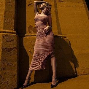 Image 3 - 鹿の女性 2019 サマードレスの女性ロングクラブエレガントなボディコンマキシドレススリットストラップセクシーなメッシュオーガンジードレスのためのパーティーナイト
