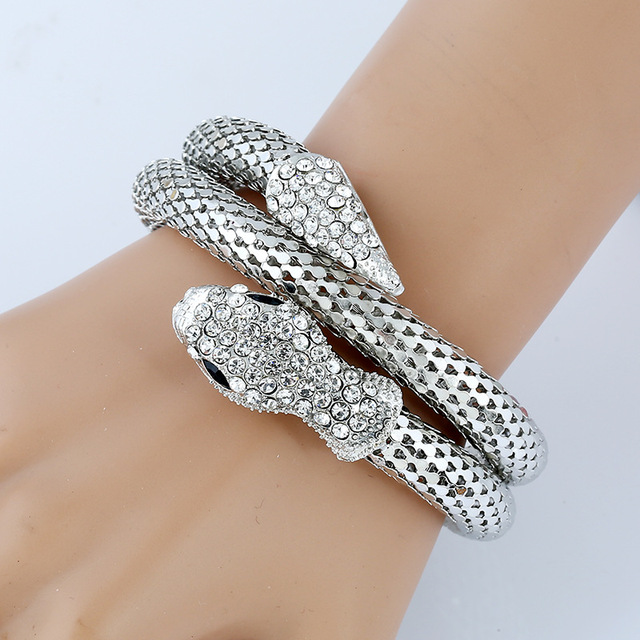 Luxury Fashion Vintage Designer Snake Bracelet Bangle Dazzling Stones Stylish For Women Men Drop