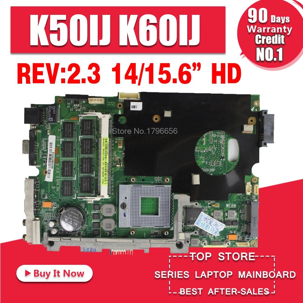 Sturen De Kabel + K50IJ Moederbord Rev: 2.1/2.3 Voor Asus X5DIJ, K60IJ, K40IJ, X8AIJ Laptop Moederbord K50IJ Moederbord Test 100% Ok