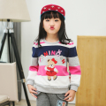 Vestidos O-neck stripe bear pullover sweater knitted cotton warm blouse girls Autumn winter top girls clothes 3 4 5 6 7 8 9 10 Y