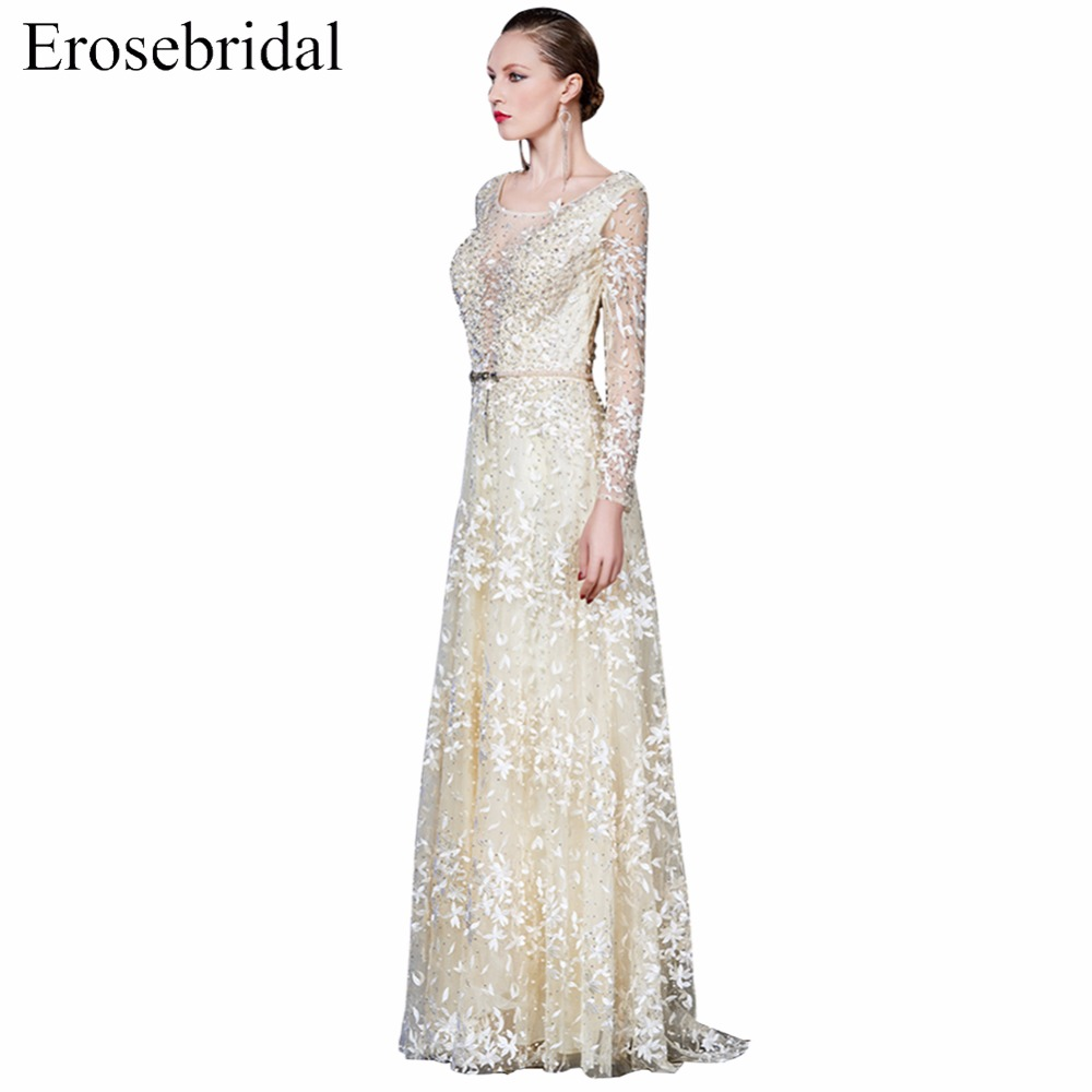 0883cb6d98fbd US $196.2 10% OFF|2018 Long Sleeve Prom Dresses Erosebridal A Line Formal  Women Party Gowns Handmade Flower Illusion Back Ever Pretty -in Prom  Dresses ...