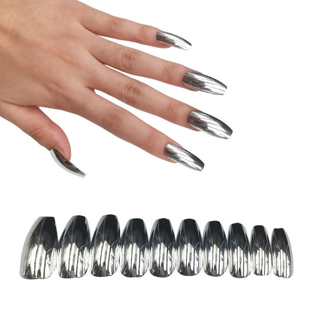 24pcs Coffin False Nails Silver Mirror Designs Full Nail Tip