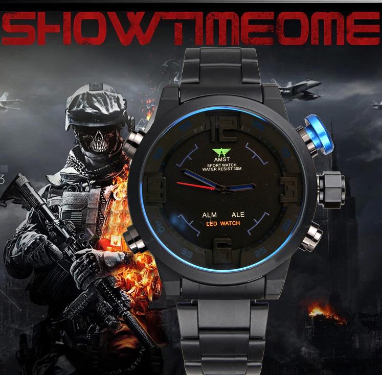 Prix pour Montres Hommes Marque De Luxe AMST Led Sport Militaire Montre À Quartz Montre-Bracelet Relogio Masculino 2017 Hommes Horloges Mâle Temps De Mode