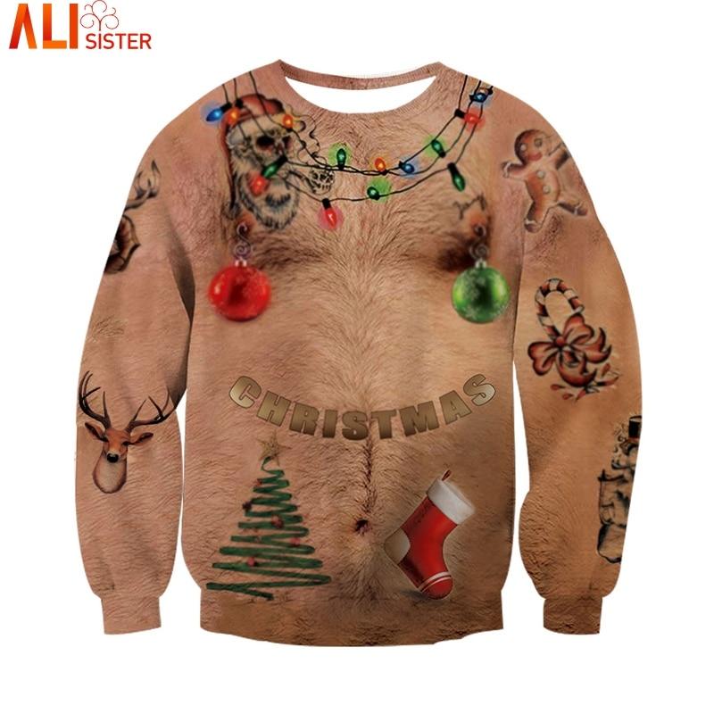 Unisex Kersttrui.Ugly Christmas 3d Hoodies Sweatshirt Chest Hair Print Funny Hoodie