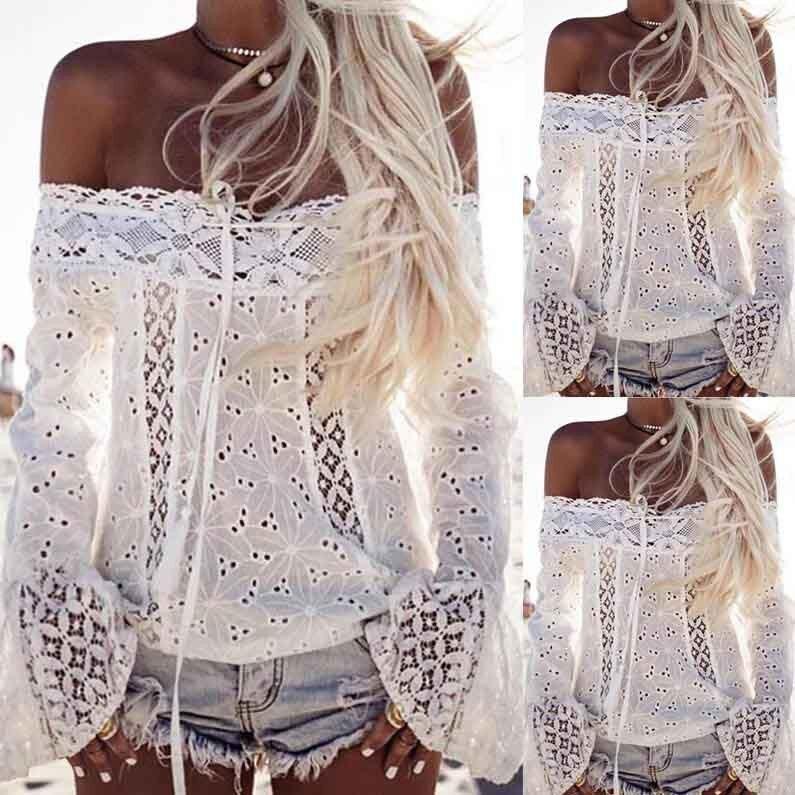 HTB1JettQFXXXXbNaXXXq6xXFXXXU - Women Elegant Sexy Off Shoulder Long Sleeve Lace blouse White shirt PTC 249