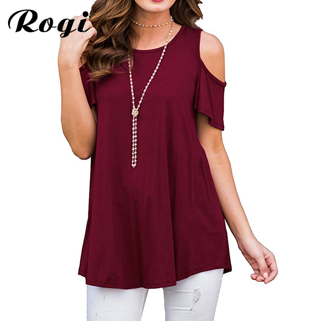 6a8314cba894 Rogi Womens Blouses and Tops Casual Short Sleeve Summer Shirt Women Sexy  Cold Shoulder Tops Tee Loose Blouse Blusa Mujer XXXL
