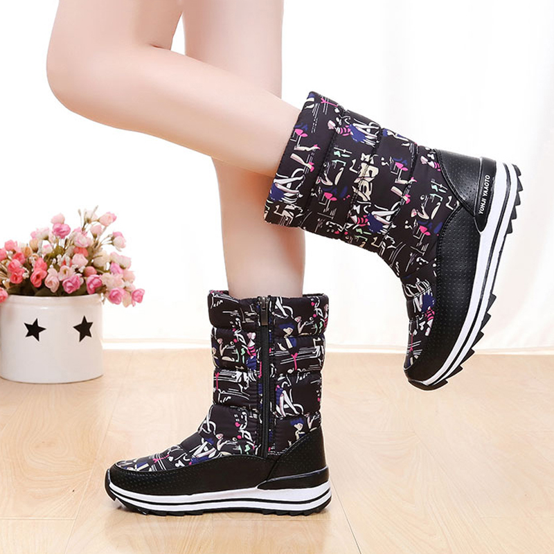 Women Boots High Quality Platform Snow Boots Non-slip Waterproof Print Women winter boots only true love high quality women boots winter snow boots